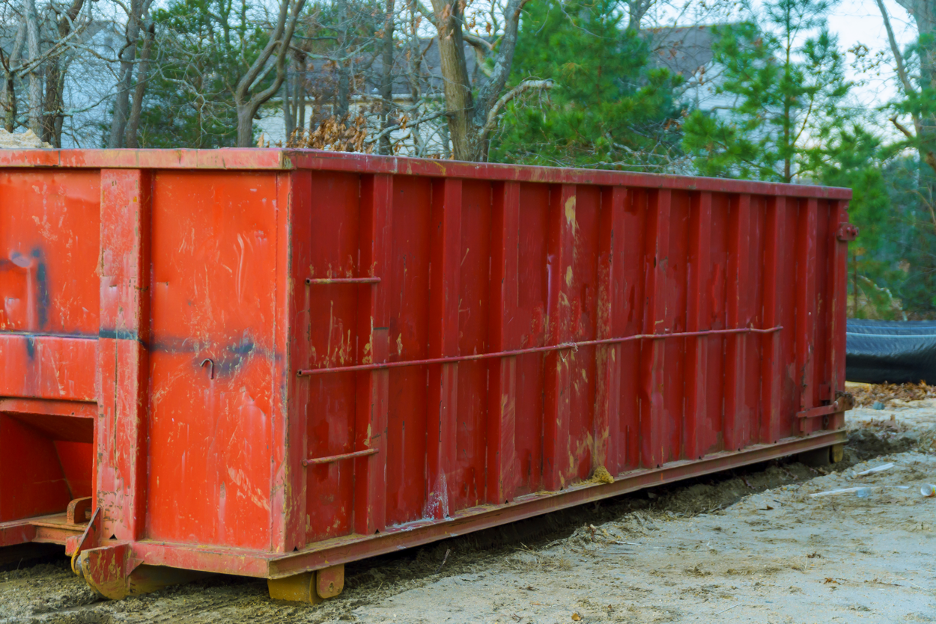 Rental dumpster outside of a house in Greendale, Wisconsin