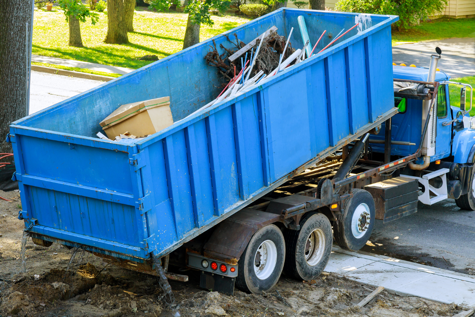 Dumpster rental delivery at a construction site in South Milwaukee, Wisconsin