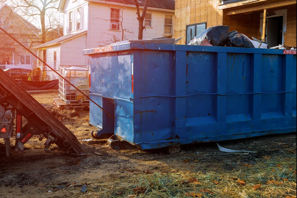Dumpster rental at a construction site in Burlington, Wisconsin